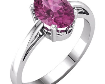 14k White Gold 8x6 mm Oval Natural Birthday Gemstone(Pink Tourmarine,Sky Blue Topaz ,Black onyx, LT Blue Aquamarine)  Scroll Ring ---Specail