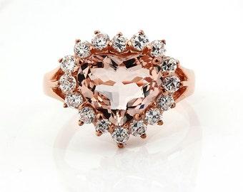 Natural Heart Shape  Morganite Solid 14K Rose Gold Diamond engagement Ring