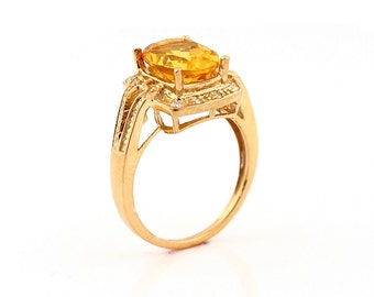 Natural 10x8mm Citrine  Solid 14K Rose Gold Diamond engagement Ring