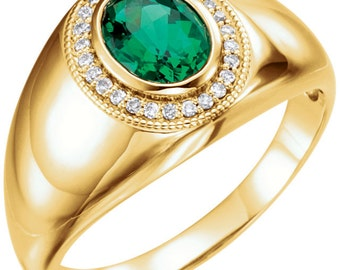 14kt Yellow Men's Chatham® Created Emerald & Diamond Accented Ring,Men's Ring ST