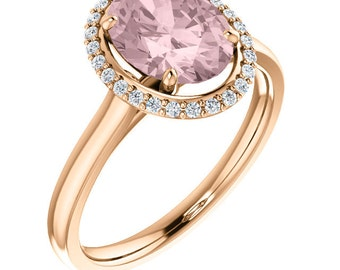 Natural AAA 10x8mm Oval  Morganite  Solid 14K rose  Gold Diamond halo Engagement Ring Set-ST233171