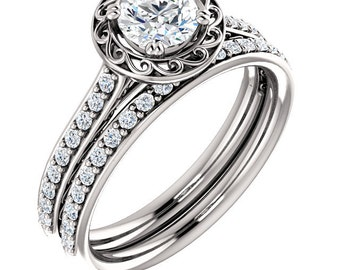 1/2 CT 5mm  Forever One (GHI) Moissanite Solid 14K White Gold  Halo  Engagement  Ring Set - ST233722