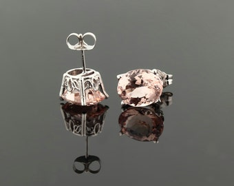 Genuine Morganite Scroll Setting® Earrings 14k white Gold Morganite Stud Earrings 10x8mm Oval Post Earring ****On Sale****