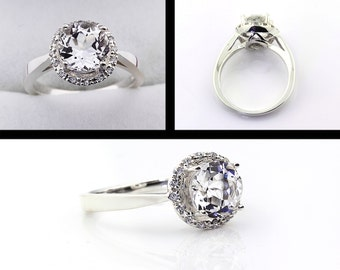 Natural AAA White Sapphire  Solid 14K White Gold Diamond engagement Halo Ring - Gem796