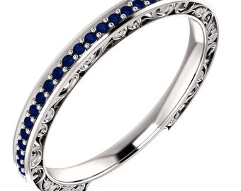 Stackable 14kt White  ,Rose or Yellow Gold  Floral Sculptural Blue Sapphire Half Eternity Band Ring  ST233571, Gem1218 *****On Promotion****