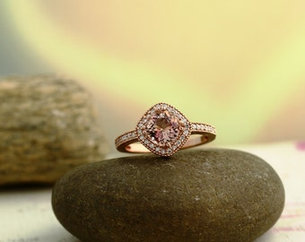 Morganite Diamond Ring  In 14K Rose Gold engagement Ring  antique Style  Halo Ring 7mm  ****Gem877