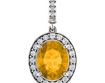 """Natural  10x8mm Oval Yellow Citrine Solid 14K White Gold Diamond pendant with 18"""" Cable chain- ST97183"""