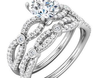 1ct Forever One (GHI) Moissanite Solid 14K White Gold   Engagement  Ring Set  - ST232991