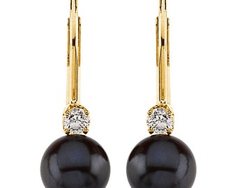 14K Yellow gold Black Akoya Cultured Pearl(6mm) & Diamond Lever Back Earrings-ST72152