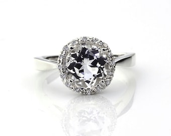 Natural AAA White Topaz  Solid 14K White Gold Diamond engagement Halo Ring - Gem796