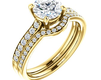 1ct 6.5mm Forever One (GHI) Moissanite Solid 14K Yellow Gold   Engagement  Ring Set  - ST82772