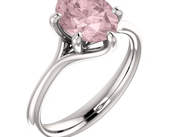 Natural AAA 10x8mm Oval  Morganite  Solid 14K white Gold  SolitaireEngagement  Ring Set- ST233229  @@@Special for you@@@