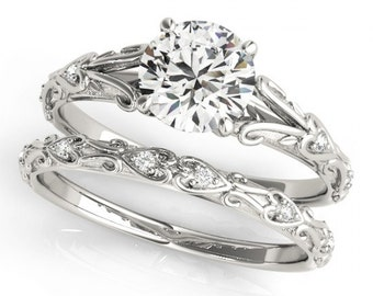 Certified Forever One (GHI) Moissanite and Diamond  Vintage Style Engagement  Ring Set in 14K White Gold - OV62176