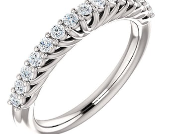 14K White Gold Diamond Wedding Half Eternity Matching Band Ring-ST233725