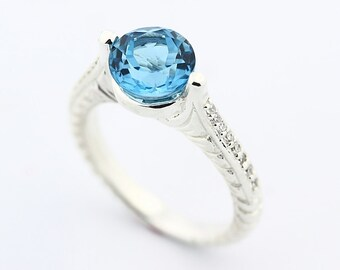 Natural  8MM Swiss Blue Topaz Solid 14K White Gold Diamond  Ring-Antique