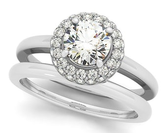 1ct  6.5mm Forever One (GHI) Moissanite Solid 14K White Gold  Halo  Engagement  Ring Set  - OV61644