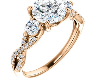 7mm Forever One (GHI) Moissanite Solid 14K Rose Gold  3 stone  Engagement  Ring Set - ST234700