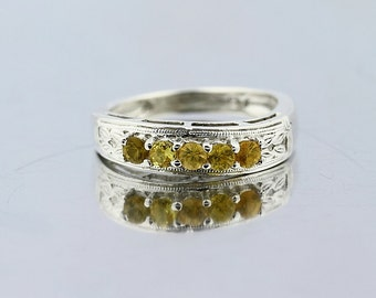 Natural Yellow Sapphire Solid 14K White Gold Twist Shank Wedding band Ring