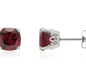 Cushion Natural Garnet Scroll Stud Earring In 14k White Gold Gold -Pair 6mm 2.75 CT