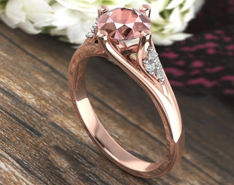 Natural Morganite & Diamond  Engagement Ring In 14k Rose Gold  Gem1620