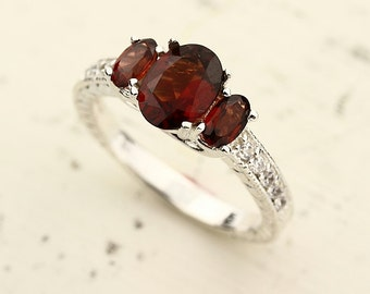Natural Garnet  Solid 14K White Gold antique diamond engagement ring