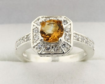 Natural  AAA Yellow Citrine Solid 14K White Gold Diamond Ring