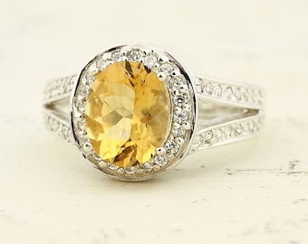 Natural Yellow Citrine Solid 14K White Gold Diamond Ring