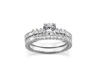 1 carat 6.5mm Round Forever Brilliant Moissanite Solid 14K White Gold Diamond Engagement Ring Set  - ENS4338