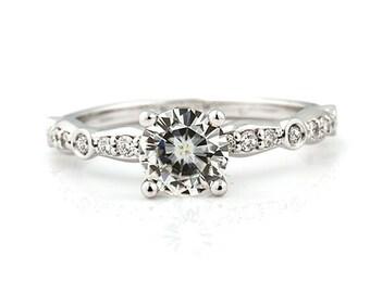 1 CT  6.5mm   Round Forever One (GHI) Moissanite Solid 14K White Gold Diamond  Engagement  Ring   - Gem962