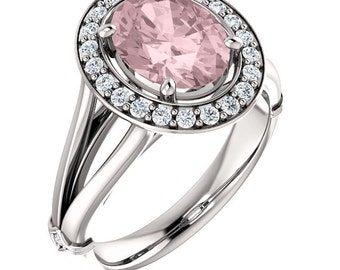 Natural AAA 9x7mm Oval  Morganite  Solid 14K white Gold Diamond Engagement Ring Set-ST233400