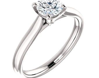 5.5mm Round  Forever One (GHI) Moissanite 14K White Gold Diamond Engagement Ring -ST233190