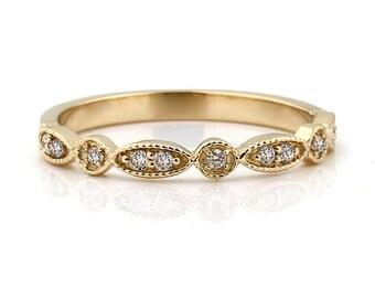 Art Deco Antique Style Diamond Milgrain 14K Yellow Gold half  Eternity Wedding Band Ring Aniversary Ring For you   Gem924