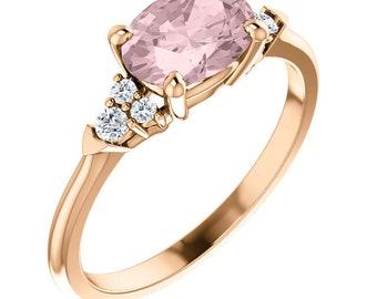 Morganite Engagement Ring Set , Diamond & Moragnite  Wedding Ring Set  In 14k Rose Gold
