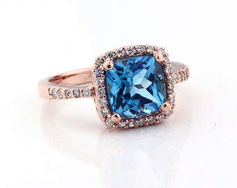 Natural Cushion Cut Swiss blue topaz Solid 14K Rose  Gold Diamond engagement Ring-Gem746