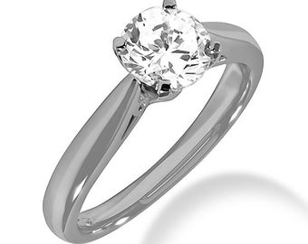 1/2ct  EGL Certified Diamond F Color  SI2 Clarity Solitaire  Engagement Ring In 14k White Gold SR271