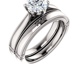 1ct Forever One (GHI) Moissanite Solid 14K White Gold   Engagement  Bridal Ring Set - ST233674
