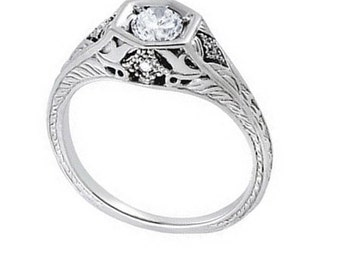 1/3 ct 4.5mm Forever One (GHI) Moissanite  Solid 14k white gold Antique Style diamond Engagement Ring- Ov94488