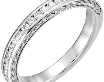 Stackable 14kt White  ,Rose or Yellow Gold  Vintage Style  Diamond Half Eternity Band Ring  ST233958