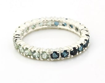 Natural London Blue Topaz and Green Sapphire  ETERNITY BAND  IN 14KT white gold - Gem730