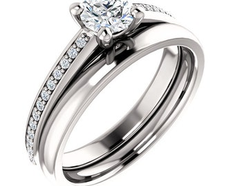 1/2ct  5mm Forever One (GHI) Moissanite Solid 14K White Gold   Engagement  Ring Set - ST233226-1226 &233240
