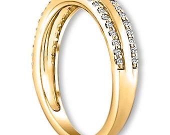 14K White / Yellow / Rose  Gold  Natural Round Diamond Wedding Band  Aniversary Ring ENS4124