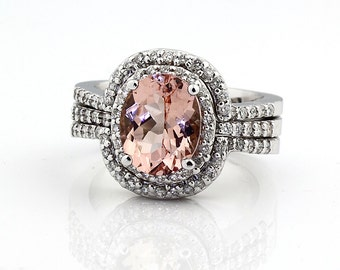Natural AAA 10x8mm Morganite Solid 14K White Gold Diamond engagement Halo Ring  Bridal set Gemset11-3