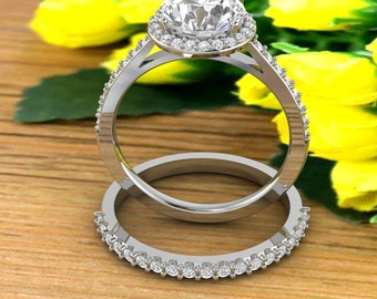 2 CT Forever One  Moissanite Diamond Halo Style Engagement Ring,Diamond moissanite Wedding Ring In 14k White Gold  Gold -7.5mm Round Gem1618