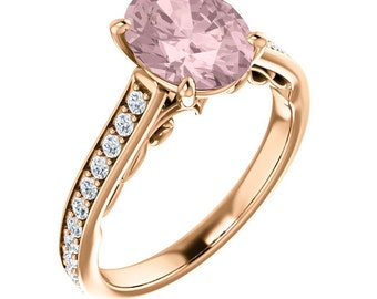 Natural AAA Morganite Ring Set, Diamond Morganite Engagement Ring Band Set, Roes gold, 9x7mm gemstone - ST234192