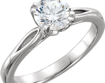 6.5mm Round Forever One (GHI) Moissanite Solid 14K White Gold  Solitaire  Engagement Ring ST233532