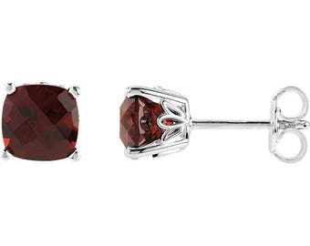 Cushion Natural  Garnet  Scroll Stud Earring In 14k White or Yellow Gold  Gold -Pair 6mm 2.75 CT