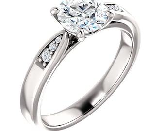 1 ct  Forever One (GHI) Moissanite Engagement Ring Set  in 14K White Gold  - ST82812-1202
