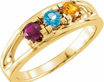 2, 3, 4, 5, 6, or 7 Birthstones Mother's Ring in Solid 14k White, Yellow Or Rose Gold  Custom Family Ring ST21452