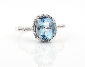 Natural AAA  Aquamarine  Solid 14K White Gold Diamond Halo engagement Ring