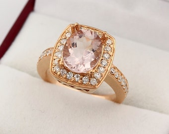 Natural 10x8mm Oval Morganite  Solid 14K Rose Gold Diamond engagement Ring